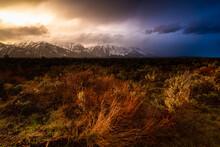 Sunset Light Illuminating Heavy Storm Clouds Above The Teton Mountains And Sagebrush Flats Of Jackson Hole. Grand Teton National Park, Wyoming