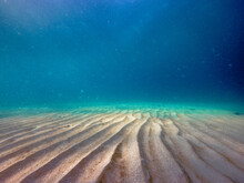 Sandbar In Ocean With Rows Of Wavy Sand Underwater Sea And Fractal Light