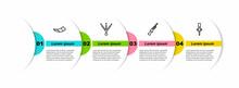 Set Line Hunting Horn, Bird Footprint, Shotgun And Torch Flame. Business Infographic Template. Vector