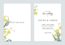Floral Wedding Invitation Card Template Golden Shower Flowers  And Leaves On White