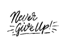 'Never Give Up', Hand Drawn Inspiration Quote. Calligraphic Hand Drawn Lettering Vector Poster. For Poster, Banner, Postcard, Motivator Or Part Of Your Design.