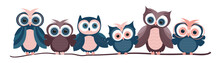Vector Illustration Of Cute Owls Sitting On A Tree In Flat Style. Poster, Banner, Label, Or Sticker Template. EPS10