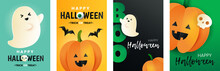 Happy Halloween Set Of Cards. Inscription Boo,pumpkin, Bat, Skull And Ghost In Paper Cut Style. Halloween Greeting Posters.