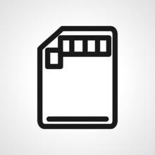 SD Card Vector Line Icon. SD Card Linear Outline Icon.