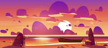 Wooden Boat On Dusk Sea, Sunset Seascape, Evening Ocean Picturesque Landscape. Nature Background With Lonely Skiff Moored On Rocky Shore Under Pink And Purple Beautiful Sky Cartoon Vector Illustration