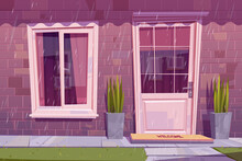 House Facade With Closed Door, Window And Brick Wall In Rain. Vector Cartoon Building Exterior, Home Front With Welcome Mat On Doorstep, Plants And Green Grass At Rainy Weather