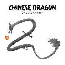 Chinese Dragon Calligraphy With Red Ball