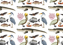 Seamless Pattern With Various Mangrove Animals In Cartoon Style