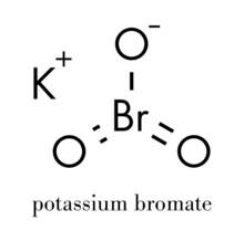 Potassium Bromate (KBrO3, E924). Used As Additive To Flour In The Baking Of Bread. Skeletal Formula.