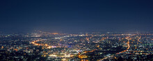 Aerial View City Night From The View Point On Top Of Mountain , Chiang Mai ,Thailand