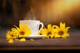 Fototapeta Kwiaty - filiżanka kawy w jesienny poranek, kawa o poranku i żółte kwiaty słonecznika
