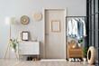 Leinwandbild Motiv Modern interior of stylish hallway with clothes and rug