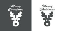 Banner Con Frase Merry Christmas Con Silueta De Cabeza De Reno Rudolph En Fondo Gris Y Fondo Blanco