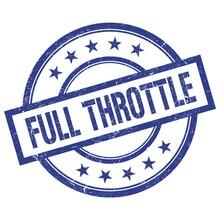 FULL THROTTLE Text Written On Blue Vintage Round Stamp.