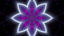 White Outline Flower Shape Neon Purple Light Lamp