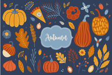 Thanksgiving Day Set - Pumpkin, Berries, Autumn Leaves, Flower, Branches, Chamomile