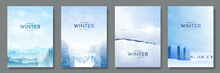Vector Illustration. Flat Winter Landscape. Snowy Backgrounds. Snowdrifts. Snowfall. Clear Blue Sky. Blizzard. Cold Weather. Design Elements For Poster, Book Cover, Brochure, Magazine, Flyer, Booklet