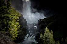 Waterfall In The Canadian Mountains