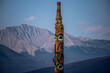 totem pole on the mountain