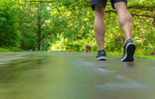 Legs In Sneakers Close Up Athlete Runs In The Park Outdoors, Around The Forest, Oak Trees Green Grass Young Enduring Athletic Athlete Healthy Runner Nature, Workout Jogger Young Legs Jog, Woods