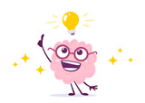 Vector Creative Illustration of Pink Human Brain Character in Glasses with Light Bulb on White Background. Flat Doodle Style Knowledge Concept Design of Happy Brain and Idea