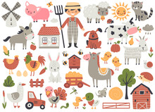 Farmhouse And Farm Animal Set With Horse, Cow, Pig, Sheep, Chicken, And Others. Hand Drawn Vector Illustration.