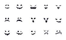 Halloween Face Icon Set Vector Design