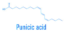 Punicic Acid (trichosanic Acid) Molecule. Fatty Acid Present In Pomegranate (Punica Granatum). Skeletal Formula.
