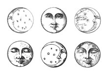 Set Of Moon, Crescent, Drawings In Engraving Style
