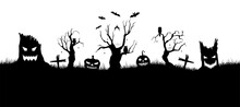 Happy Halloween Banner On White Background. Halloween Concept For Greeting Cards. Composition Of Silhouettes. Vector Illustration.
