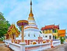 The Picturesque White-golden Stupa Of Wat Sangkharam Temple, Lamphun, Thailand