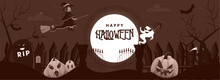 Full Moon Cemetery Brown Background With Flying Witch, Cartoon Ghost, Scary Pumpkins And Grim Reaper On The Occasion Of Halloween Party.