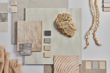 Flat Lay Of Creative Architect Moodboard Composition With Samples Of Building, Textile And Natural Materials And Personal Accessories. Top View, Grey Background, Template.