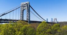 New York City Washington Bridge Sky Beautiful Panorama Trees Blue Usa