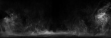 Panoramic View Of The Abstract Fog. White Cloudiness, Mist Or Smog Moves On Black Background. Beautiful Swirling Gray Smoke. Mockup For Your Logo. Wide Angle Horizontal Wallpaper Or Web Banner.