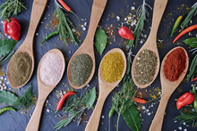 Multitude Of Spices On Wooden Spoons