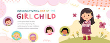 Vector Horizontal Banners With A Little Girl Hugging Herself. International Day Of The Girl Child.