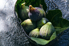 Fresh Figs And Green Leaves In Basket