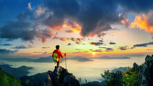 Panorama Of Backpacker Standing On Doi Pha Tang And Sunrise In Morning, Chiang Rai, Thailand.