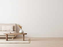 Living Room Interior Mockup In Wabi-sabi Style With Low Sofa, Jute Rug And Dried Grass Decoration On Empty Warm Neutral Wall Background. 3d Rendering, Illustration.