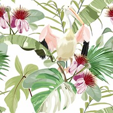 Pelican Bird And Exotic Flowers, Palm Leaves, White Background. Floral Seamless Pattern. Tropical Illustration. Exotic Plants, Birds. Summer Beach Design. Paradise Nature.