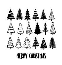 Christmas Tree Hand Drawn Vector Illustrations.