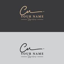 Cu Initial Letter Signature Logo Template . Cu Handwriting Letter Logo Concept Logo.