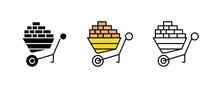Wheelbarrow And Brick Construction Icon Set. Engineering Icon. Art Vector Illustration Set. Editable Row Set. Silhouette, Colored And Linear Icon Set.