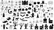 Black Halloween Silhouette Vector Illustrations Bundle