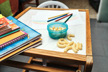 Desk With Pencils And Knick-knacks In The Living Room