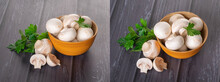Young Fresh Mushrooms In A Wooden Bowl On A Dark Wood Background