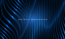 Abstract Luxury Blue Wavy Fluid Glowing Shapes Elegance Geometric Background. Striped Vertical Wave Lines Modern Pattern Corporate Concept For Banner, Poster, Presentation, Cover, Landing Page.