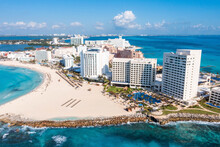 Aerial View Of The Luxury Hotels In Cancun