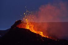 Active Erupting Volcano At Night